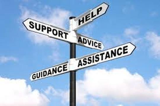 Sign pointing in every direction for help, guidance, assistance, advice, and support